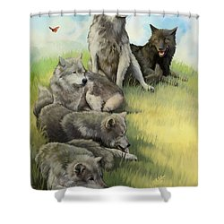 Wolf Gathering Lazy Shower Curtain