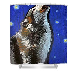 Wolf Howl Shower Curtain by Genevieve Esson