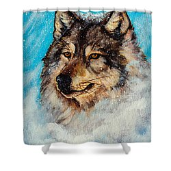 Shower Curtain featuring the painting Wolf In A Snow Storm by Bob and Nadine Johnston
