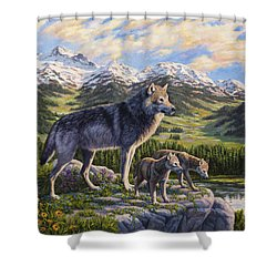 Wolf Painting - Passing It On Shower Curtain