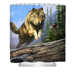 Shower Curtain featuring the painting Wolf Run Indian Hunter by Rob Corsetti