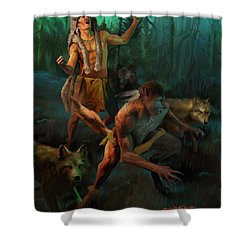 Shower Curtain featuring the painting Wolf Warriors Change by Rob Corsetti