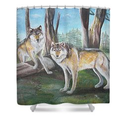 Wolves In The Forest Shower Curtain