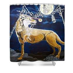 Shower Curtain featuring the painting Wolves Mouth  by Lazaro Hurtado