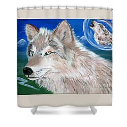 Shower Curtain featuring the painting Wolves by Phyllis Kaltenbach
