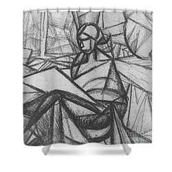 Woman Shower Curtain by Alexander Bogomazov