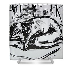 Woman Alone With Shadows Shower Curtain by Kendall Kessler