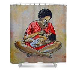 Shower Curtain featuring the drawing Woman And Child by Anthony Mwangi