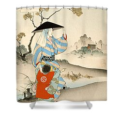 Woman And Child  Shower Curtain by Ogata Gekko