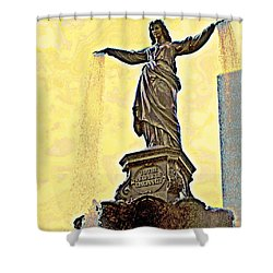 Woman And Flowing Water Sculpture At Fountain Square Shower Curtain