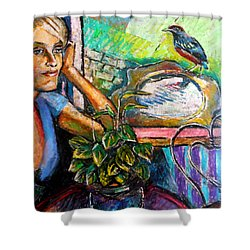 Woman And Robin Shower Curtain by Stan Esson