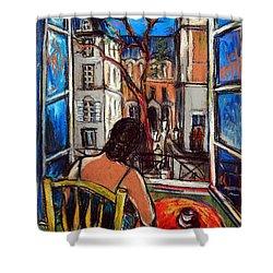 Woman At Window Shower Curtain by Mona Edulesco
