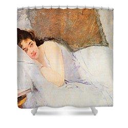 Woman Awakening Shower Curtain by Eva Gonzales