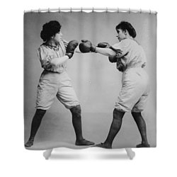 Woman Boxing Shower Curtain by Bill Cannon
