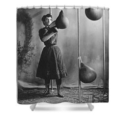 Woman Boxing Workout Shower Curtain by Underwood Archives