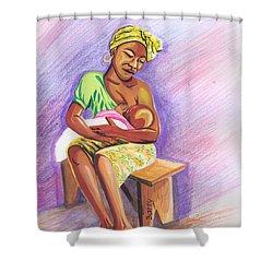 Woman Breastfeeding Bay In Rwanda Shower Curtain