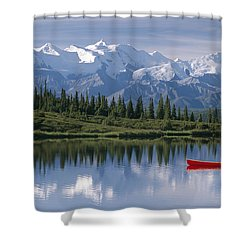 Woman Canoeing In Wonder Lake Alaska Shower Curtain by Michael DeYoung