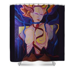 Woman Coming Undone Shower Curtain by Carolyn LeGrand