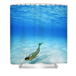 Woman Free Diving Shower Curtain by M Swiet Productions