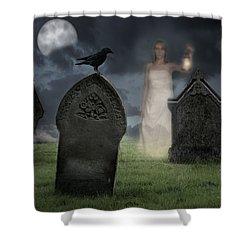 Woman Haunting Cemetery Shower Curtain by Amanda Elwell