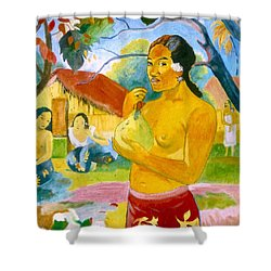 Woman Holding Fruit Shower Curtain