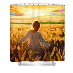 Woman In A Wheat Field Shower Curtain