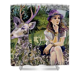 Woman In Hat Dreams With Stag Shower Curtain