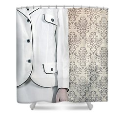Woman In Skirt Suit Shower Curtain by Joana Kruse