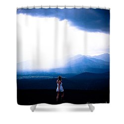 Woman In Storm Shower Curtain by Scott Sawyer