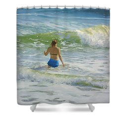 Woman In The Waves Shower Curtain