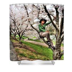 Woman In Tree Shower Curtain by Dan Friend