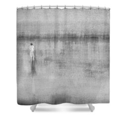 Woman In White At The Beach Shower Curtain
