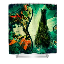 Green Mystery Montage Shower Curtain