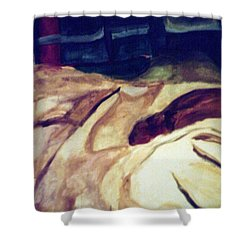Woman Napping On A Couch  Shower Curtain