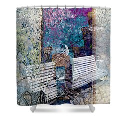Shower Curtain featuring the digital art Woman On A Bench by Cathy Anderson