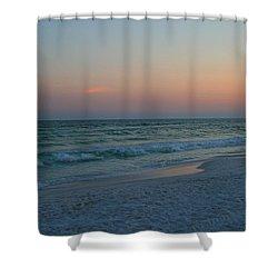 Woman On Beach At Dusk Shower Curtain