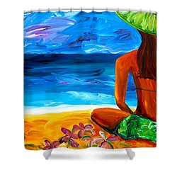 Woman On Beach Shower Curtain by Beth Cooper