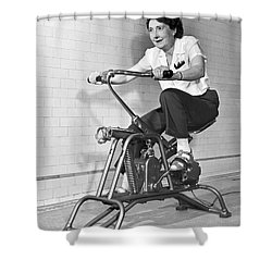 Woman On Exercycle Shower Curtain by Underwood Archives