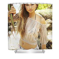 Woman On Hawaiian Beach Shower Curtain by Kicka Witte