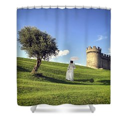 Woman On Meadow Shower Curtain by Joana Kruse