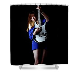 Woman Playing Lead Guitar Shower Curtain