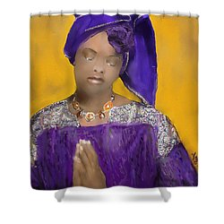 Shower Curtain featuring the painting Woman Praying by Vannetta Ferguson