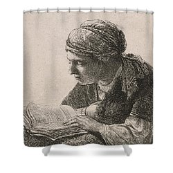 Woman Reading Shower Curtain by Rembrandt