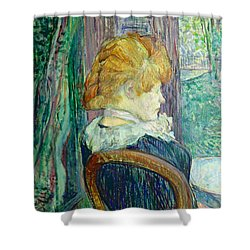 Woman Sitting In A Garden Shower Curtain by Henri de Toulouse-lautrec