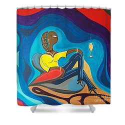 Woman Sitting In Chair Surrounded By Female Spirits Shower Curtain
