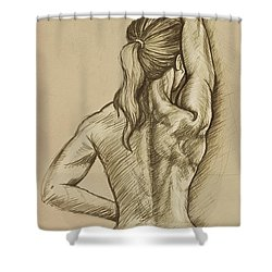 Shower Curtain featuring the drawing Woman Sketch by Rob Corsetti