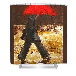 Woman Under A Red Umbrella Shower Curtain by Patricia Awapara