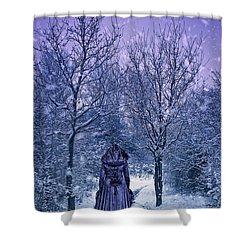 Woman Walking In Snow Shower Curtain by Amanda Elwell