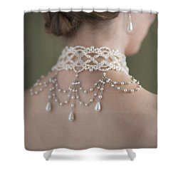 Woman Wearing A Pearl Necklace And Earring Set Shower Curtain by Lee Avison