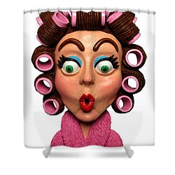 Woman Wearing Curlers Shower Curtain